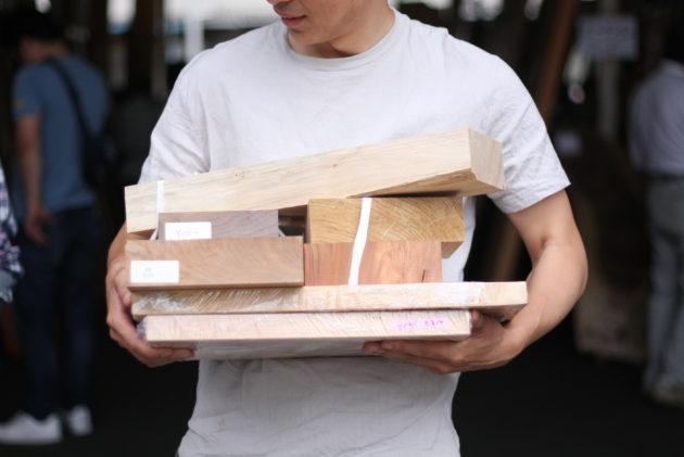 銘木朝市で購入した木材