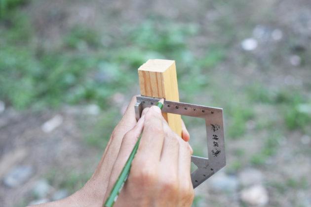 貫板を取り付けるために印を付ける