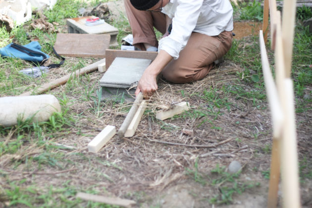 地面の締め固めのための工具を自作する
